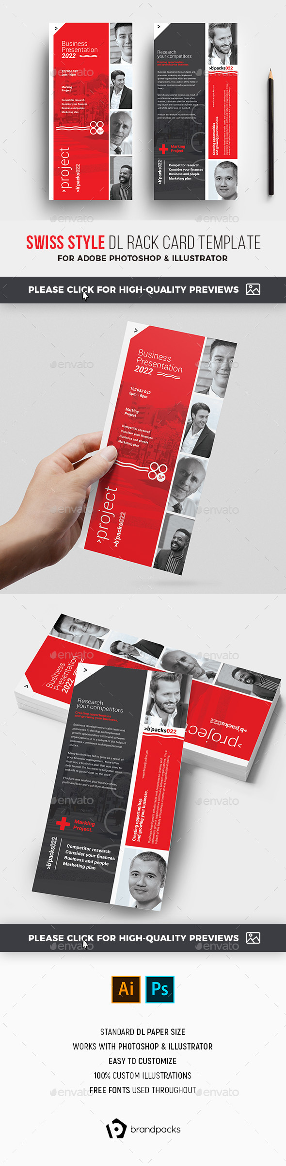 Flyers PSD – Swiss Style DL Card Template – Download