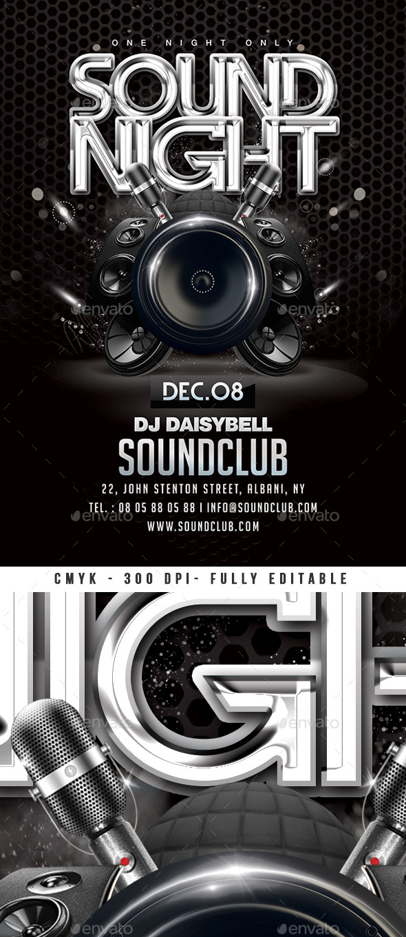 Flyers PSD – Sound Evening Birthday party Flyer – Download