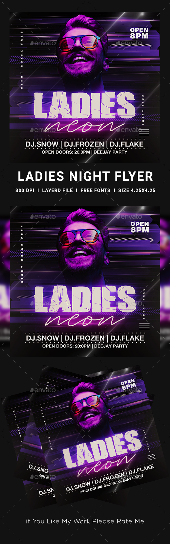 Flyers PSD – Neon Party Flyer – Download