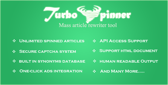 Turbo Spinner: Article Rewriter – PHP Script Download