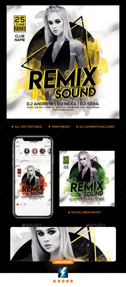 Flyers PSD – Remix Sound Event Flyer – Download
