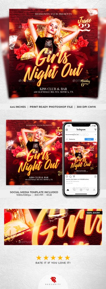 Flyers PSD – Ladies Evening Out Flyer – Download