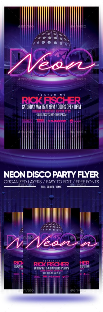 Flyers PSD – Neon Disco Occasion Flyer – Download