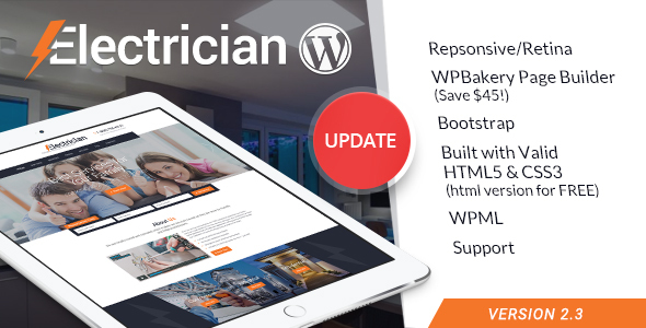 Electrician – Electricity Providers and products WordPress Theme – WP Theme Download