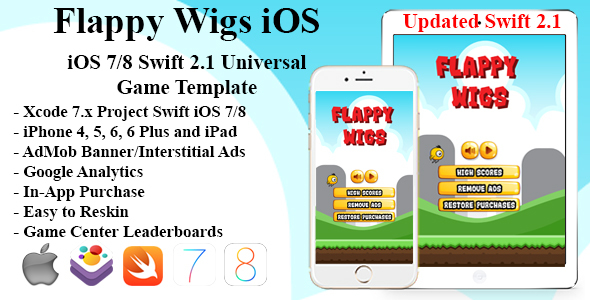 Flappy Wigs Universal iOS Game (Swift Flappy Chicken) – PHP Script Download
