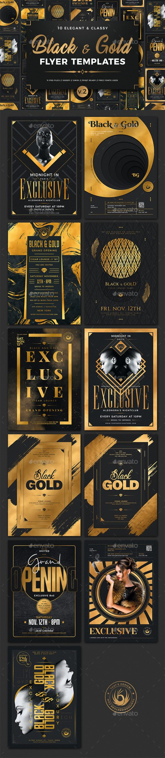 Flyers PSD – 10 Unlit and Gold Flyers Bundle V2 – Download