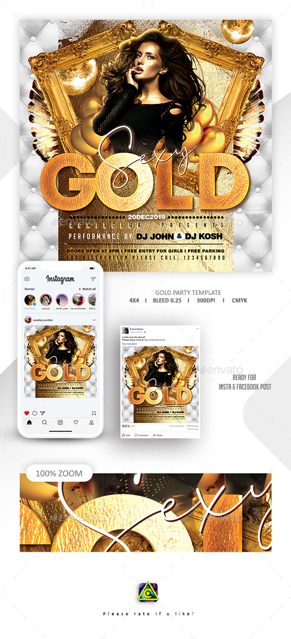 Flyers PSD – Gold Celebration Flyer – Download