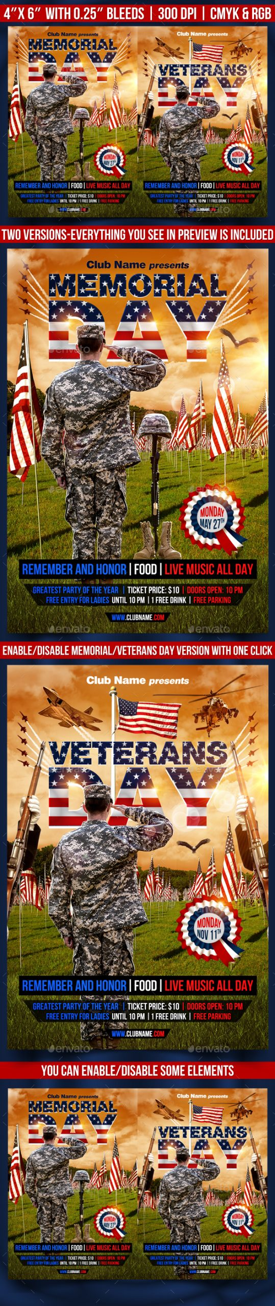 Flyers PSD – Memorial and Veterans Day Flyer Template – Download