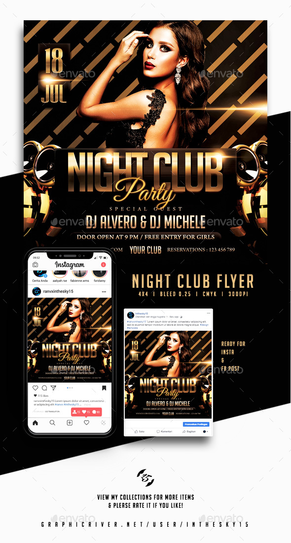 Flyers PSD – Evening Club Flyer – Download