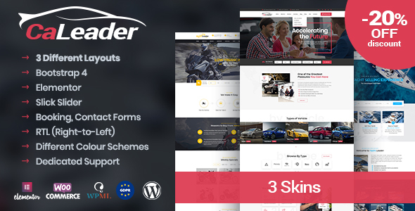 CaLeader – Automobile Seller WordPress Theme – WP Theme Download