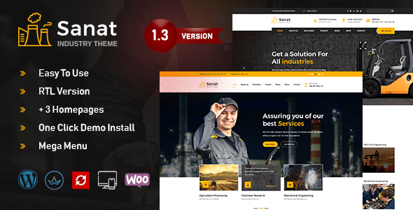 Sanat – Manufacturing facility & Industry WordPress Theme – WP Theme Download