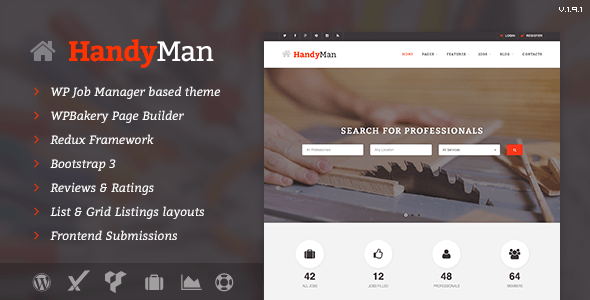 Handyman – Job Board WordPress Theme – WP Theme Download