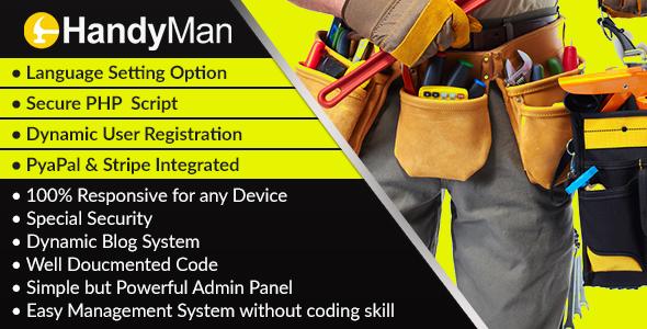 MyHandyman – Dynamic Handyman Management Syestem and Listing Script – PHP Script Download