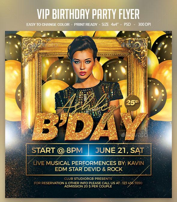 Flyers PSD – VIP Birthday Social gathering Flyer – Download
