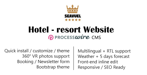 SeaVuel | Multilingual – Hotel website with CMS | Bootstrap 4 theme – PHP Script Download