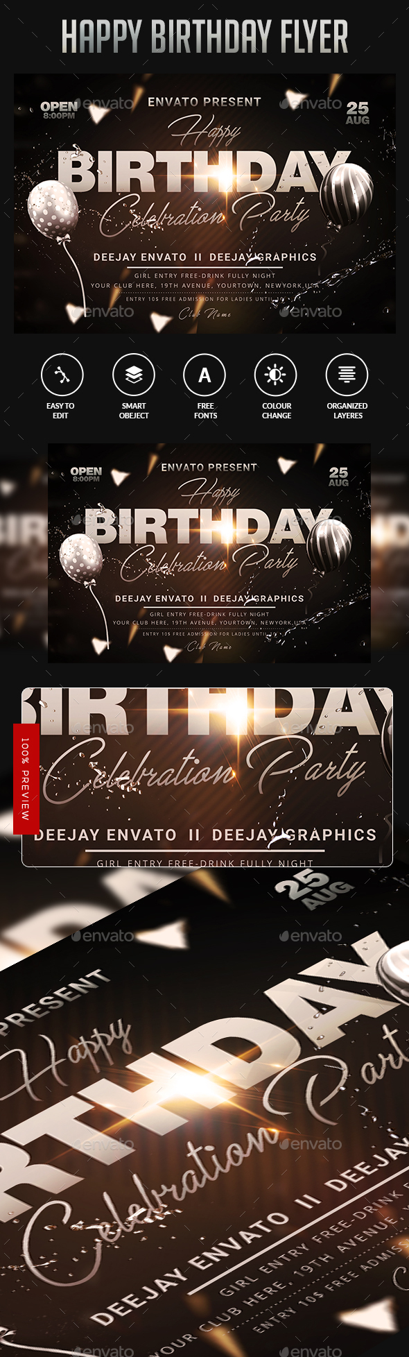 Flyers PSD – Burfday  Template – Download