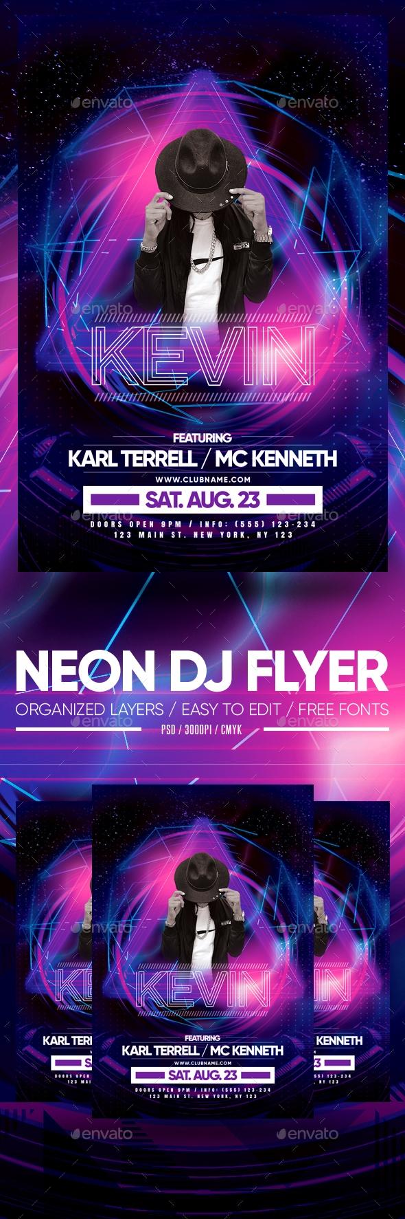 Flyers PSD – Neon DJ Fliers – Download