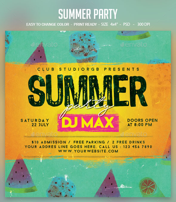Flyers PSD – Summer season Birthday party – Download