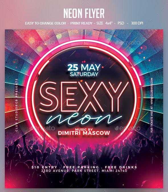 Flyers PSD – Neon Flyer – Download