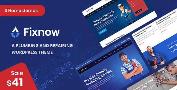 Fixnow – A Supreme Plumbing WordPress Theme  – WP Theme Download