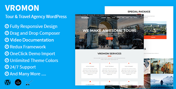 Vromon – Tour & Commute Company WordPress Theme – WP Theme Download