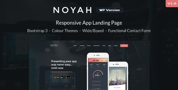 Noyah – App Landing WordPress Theme – WP Theme Download