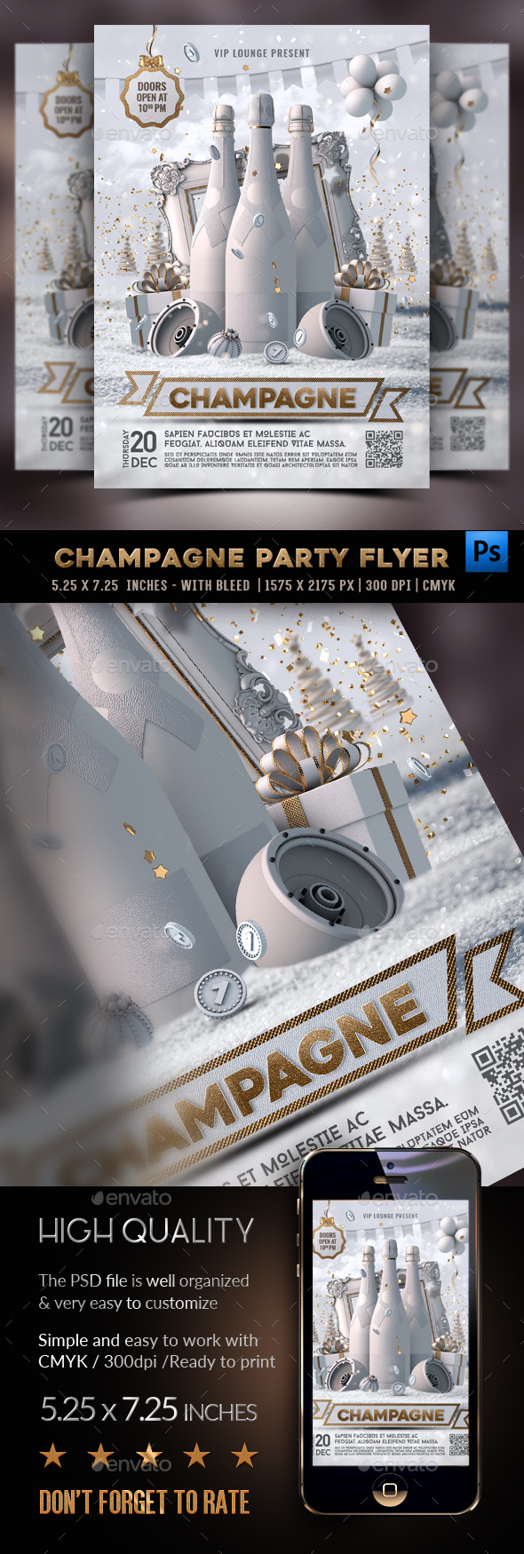 Flyers PSD – NYE Champagne Find collectively Flyer – Download