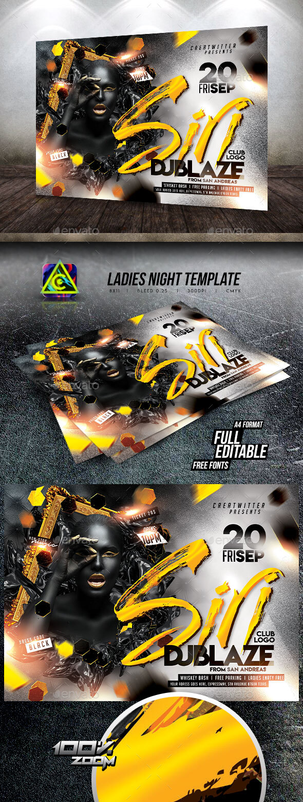 Flyers PSD – Ladies folk Night Flyer Template – Download