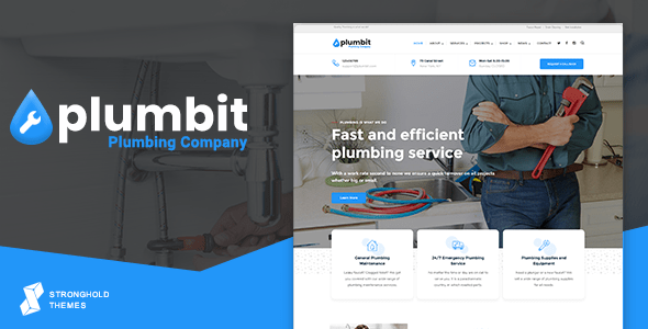 Plumbit – Plumbing WordPress Theme  – WP Theme Download