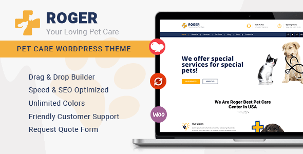 Roger – Pet Care WordPress Theme  – WP Theme Download