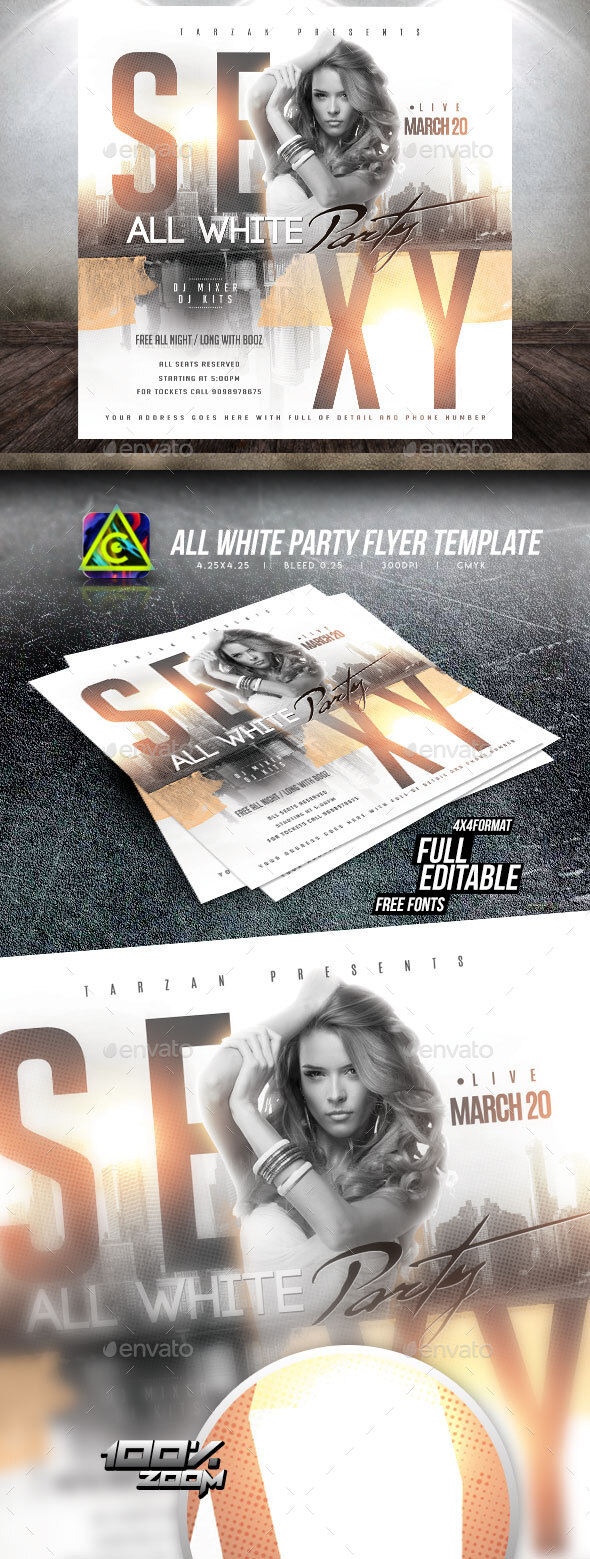 Flyers PSD – All White Celebration Flyer Template – Download