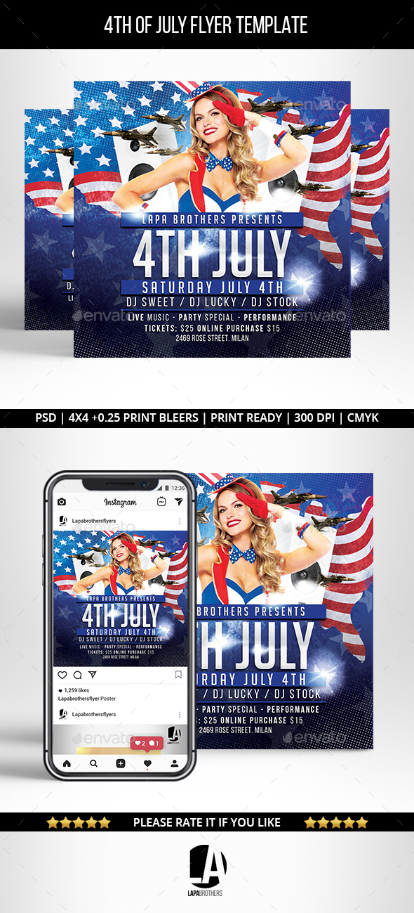 Flyers PSD – 4th of July Flyer Flyer Template – Download