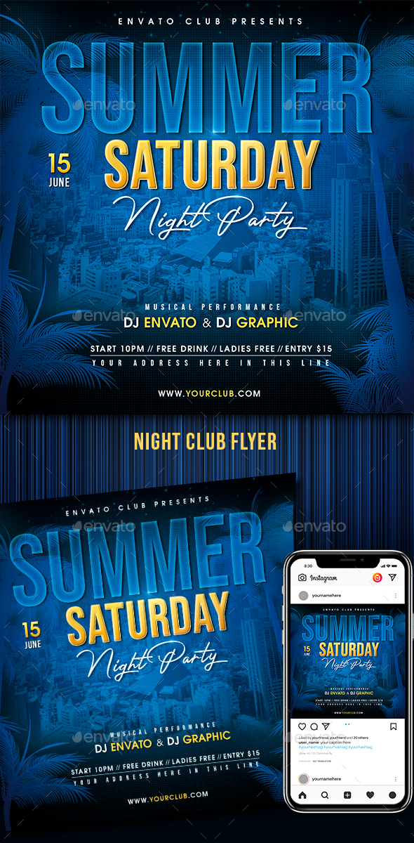 Flyers PSD – Summer season Night Occasion – Download