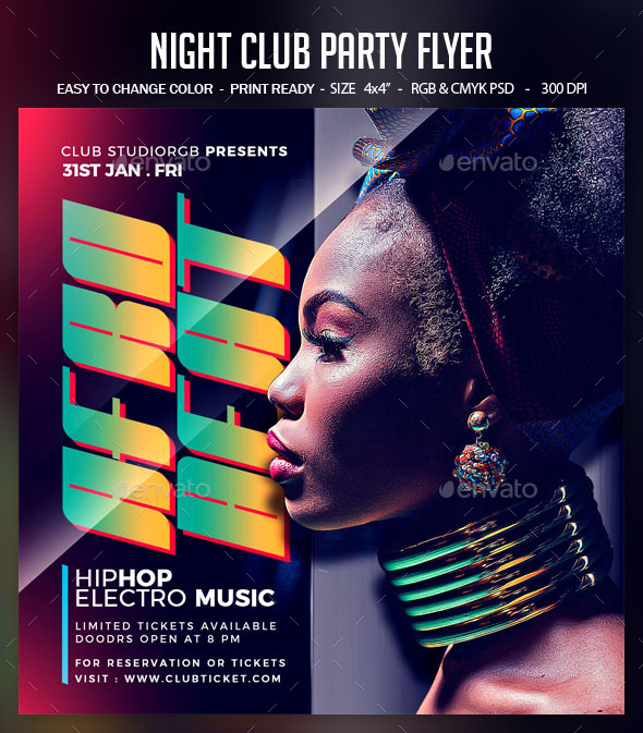 Flyers PSD – Night Club Birthday celebration Flyer – Download