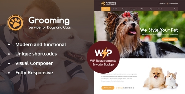 Grooming – Pet Store & Veterinary Physician WordPress Theme – WP Theme Download
