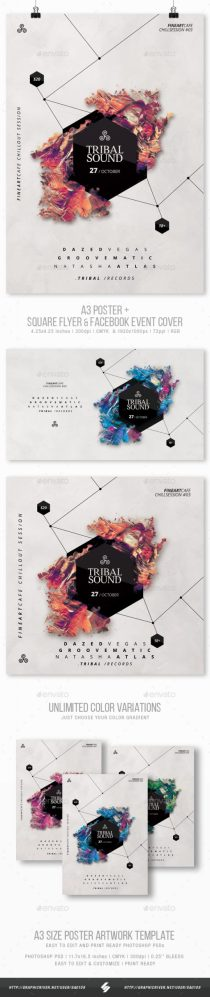 Flyers PSD – Tribal Sound – Minimal Occasion Flyer / Poster Artwork Templates A3 – Download