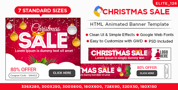 Christmas Sale HTML5 Banners – 7 Sizes – PHP Script Download