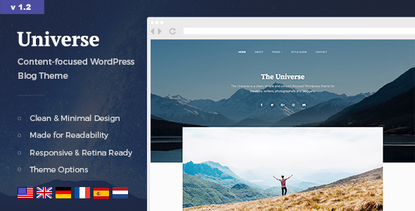 Universe – Trim & Minimal WordPress Weblog Theme  – WP Theme Download