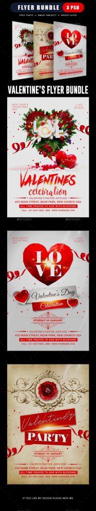 Flyers PSD – Valentine's Day Flyer Bundle – Download