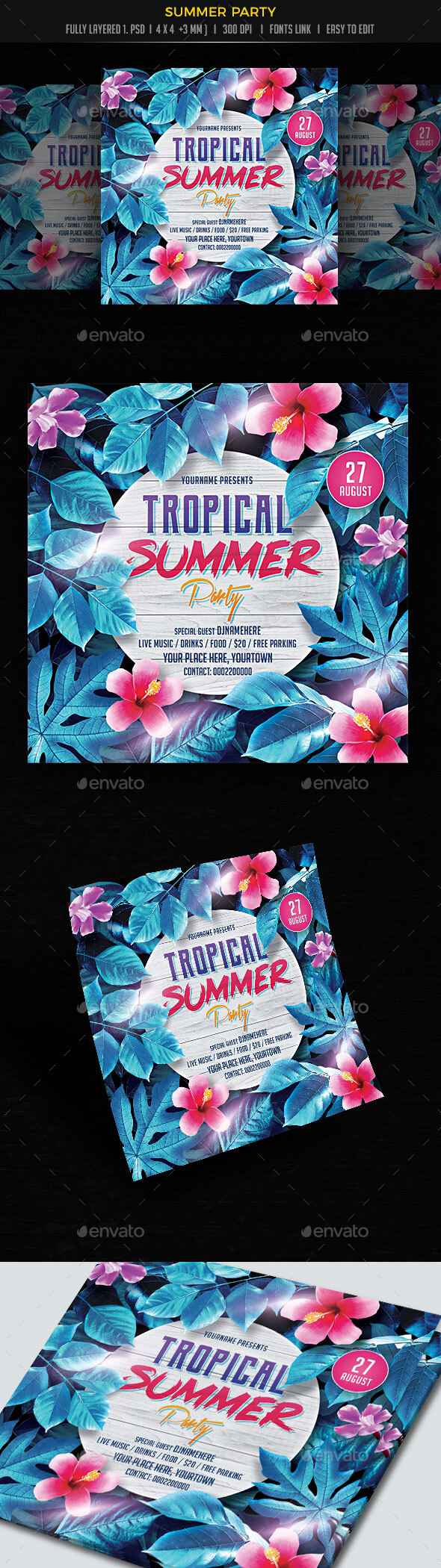 Flyers PSD – Summer Birthday party Flyer – Download
