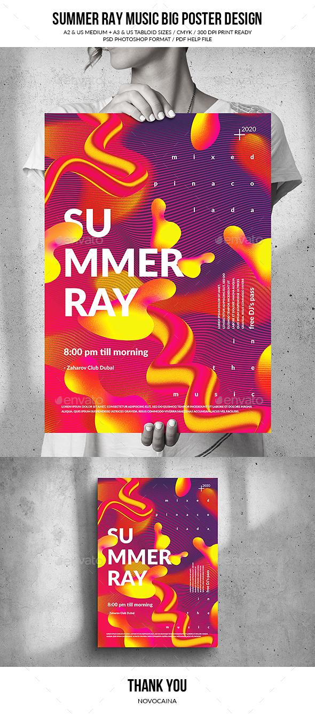Flyers PSD – Summer season Ray Music Gargantuan Poster – Download