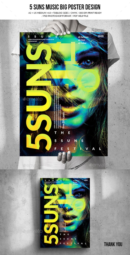 Flyers PSD – 5 Suns Song Occasion Gargantuan Poster Come by (4 Sizes) – Download