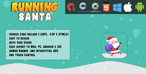 Running Santa – HTML5 Game – Net & Cell + AdMob (CAPX, C3p and HTML5) – PHP Script Download