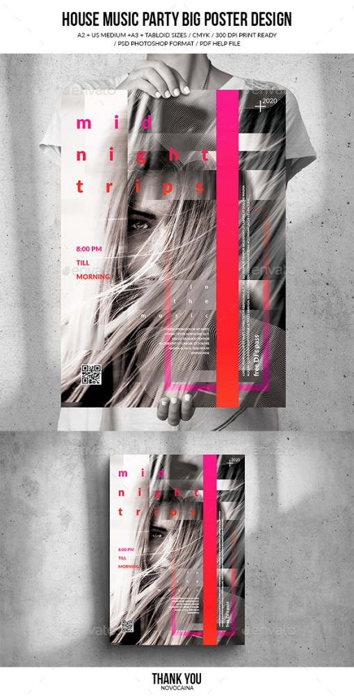 Flyers PSD – House Music Party Gigantic Poster Assemble – Download