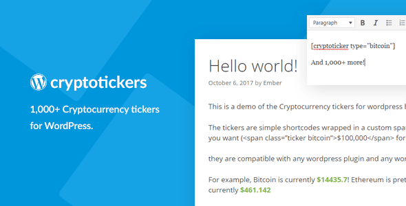 Cryptocurrency Tickers – 1,000+ Crypto Ticket Tickers for WordPress  – PHP Script Download