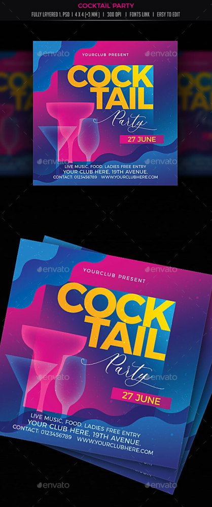 Flyers PSD – Cocktail Birthday party  – Download