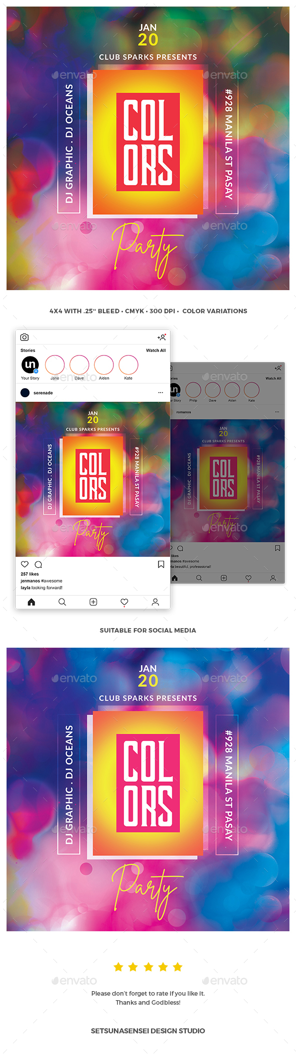 Flyers PSD – Colors Party Flyer  – Download