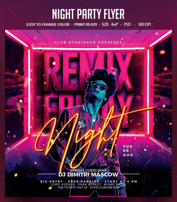 Flyers PSD – Night Social gathering Flyer  – Download