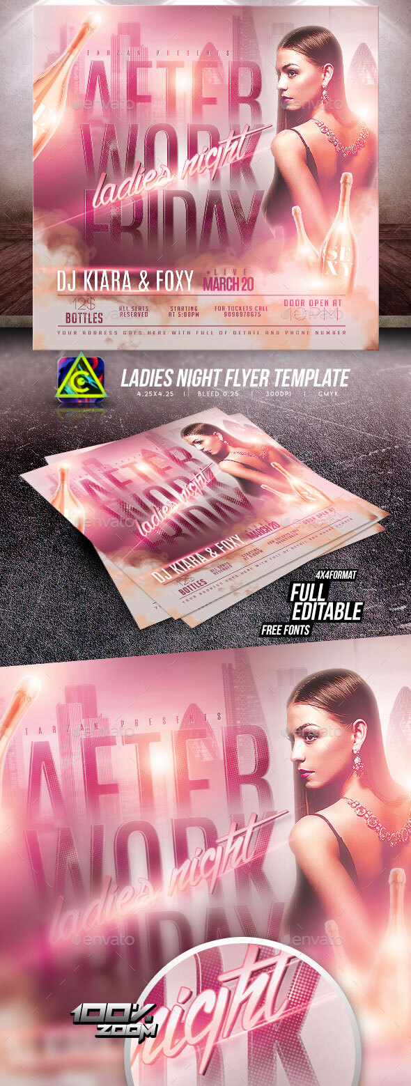 Flyers PSD – Girls Night time Flyer Template  – Download