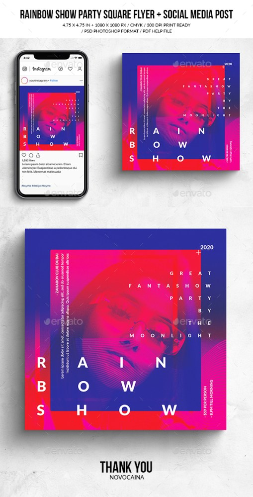 Flyers PSD – Rainbow Trace Song Square Flyer & Social Media Post  – Download